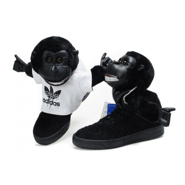 Cheapest Collection Jeremy Scott Gorilla Mens Adidas Originals Shoes Black  White $94 http://
