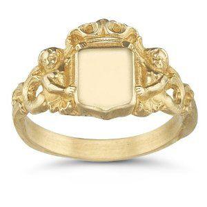 Royal Mermaid Signet Ring, 14K Yellow Gold $795