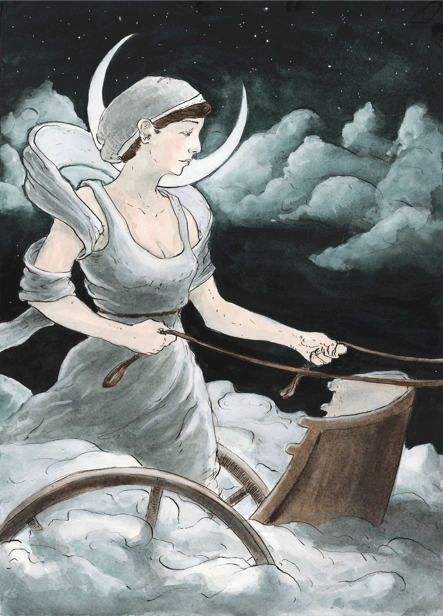 Selene Luna Greek Myth Titan Goddess Of The Moon And She Rides Her Chariot Across Sky Every Night Is Daughter Hyperion Theia