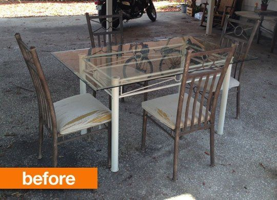 Before After Patio Table Gets Rustic Chic Makeover Patio