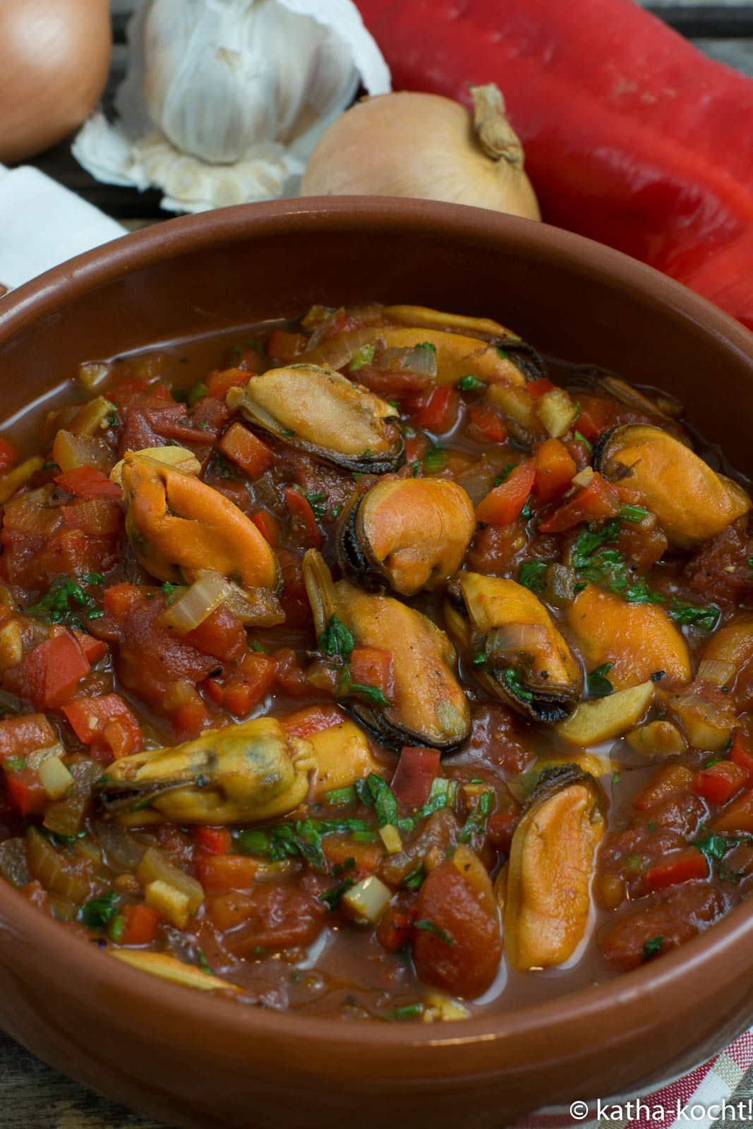 Tapas - Muscheln in Knoblauch-Tomatensauce #easyshrimprecipes