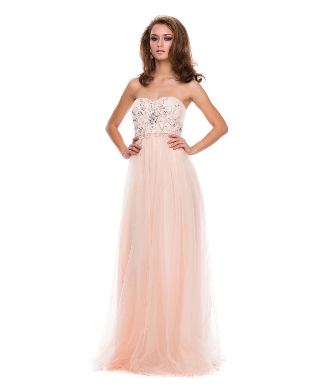 prom dresses nude tulle u beaded corset strapless gown