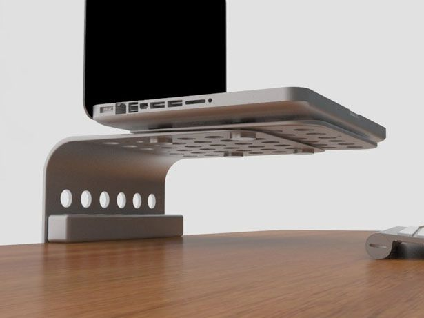 Minimal Footprint Laptop Stand Gives You More Space On Your Desk Laptop Stand Desk Laptop Desk