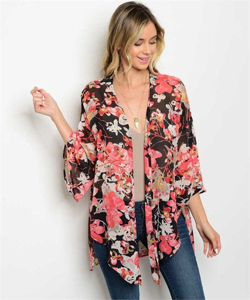 LARGE Black Red Floral Kimono | Floral kimono and Products
