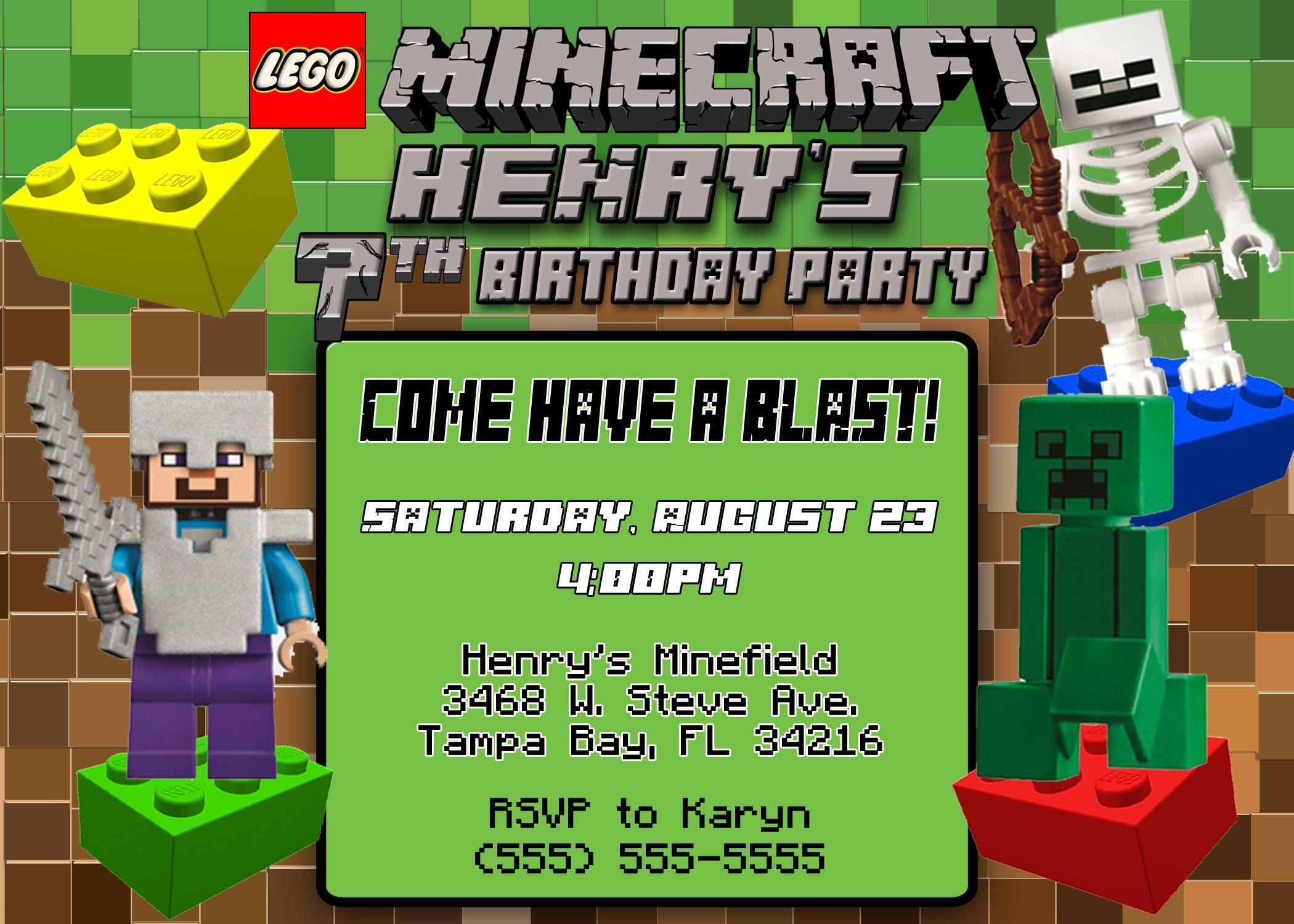 Lego minecraft birthday invitation minecraft birthday invitations lego minecraft birthday invitation stopboris Choice Image