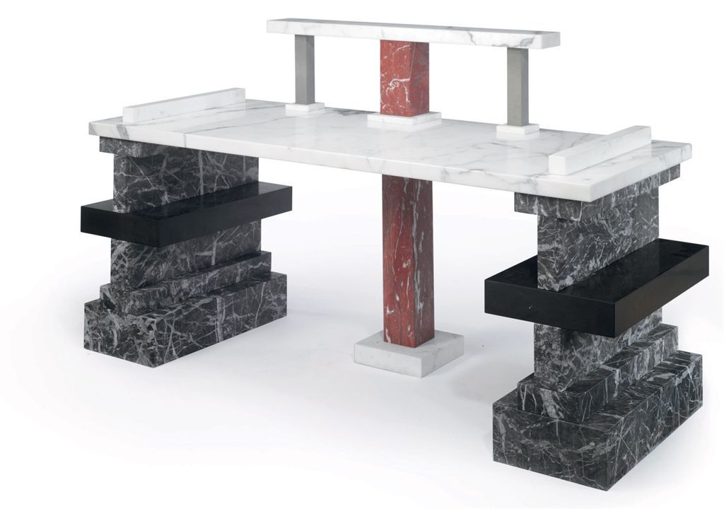 ETTORE SOTTSASS (1917-2007)  'She asked me why did you do it' A Marble Console Table, 1987  edition of 10 marble: blanco carrera, grigio carnegio gray-Italy nero-Belgio (Belgium) rosso-Franci (France) stone-Pietro, Sereno 43 in. (109.2 cm.) high, 75 in. (190.5 cm.) wide, 26¾ in. (68 cm.) deep