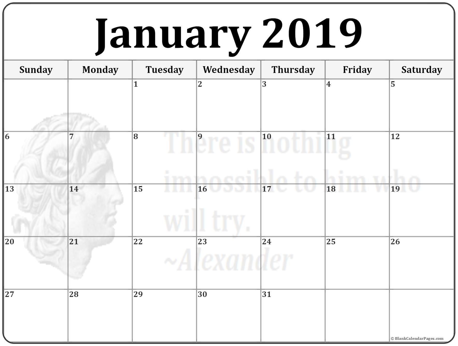 January Quote Calendar Free Calendar