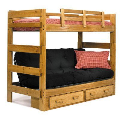 Savannah Twin Over Futon Bunk Bed Wcm124 2 Wood Bunk Beds