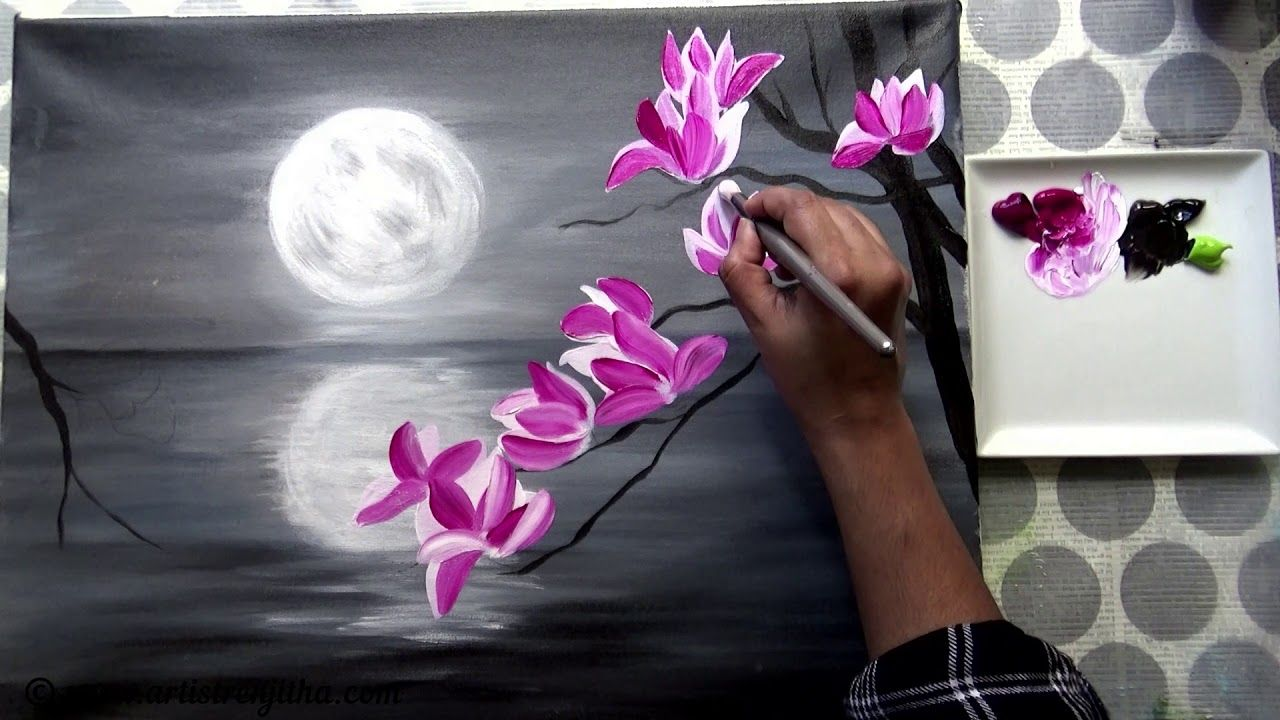 Step By Step Acrylic Painting On Canvas For Beginners Moon Light Night Painting Tree Of Magnolia Acrylic Painting Canvas Acrylic Painting Night Painting