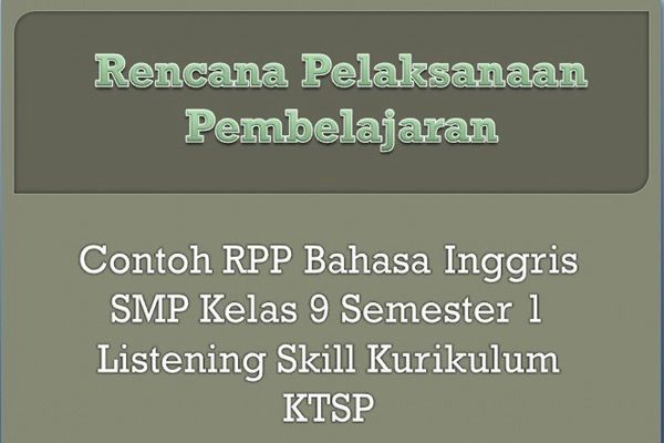 Contoh Rpp Bahasa Inggris Smp Kelas  Listening Skill Kurikulum Ktsp