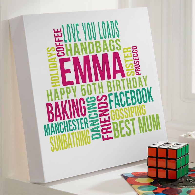 Personalised 50th Birthday Gifts of Wall Art Chatterbox