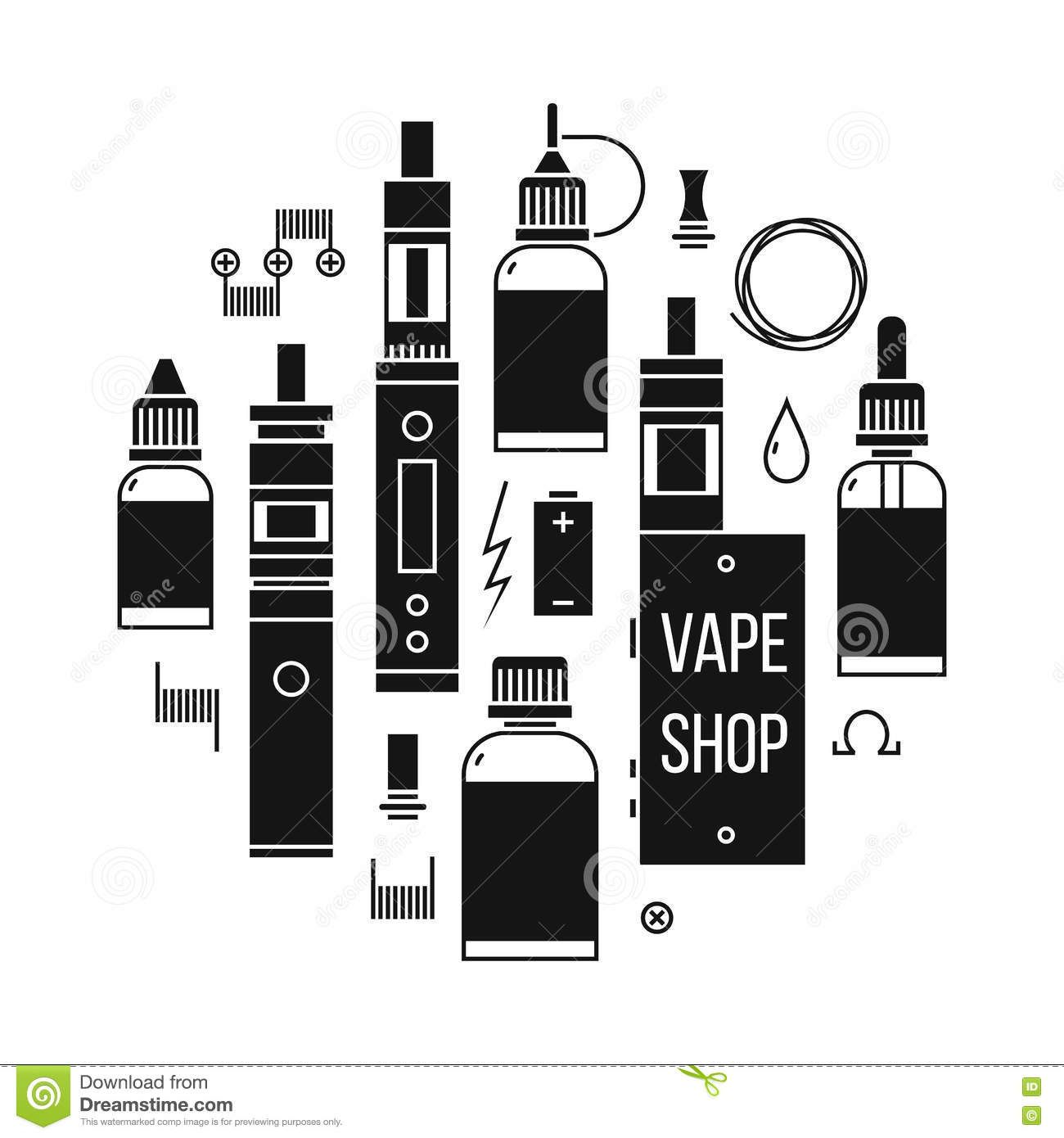 Vape Shop Icons Stock Vector Image Of Vector Store