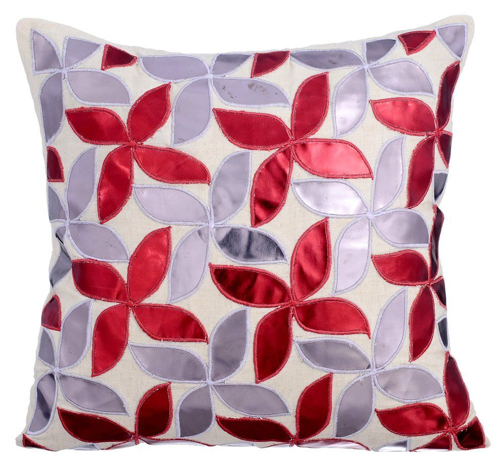 Designer Euro Size Cushion Cover Red 24 X24 Cotton Linen Pillow Cushion Floral Metallic Leather Euro Sham Red Silver Metallic Swirls Leather Throw Pillows Linen Pillows Throw Pillows