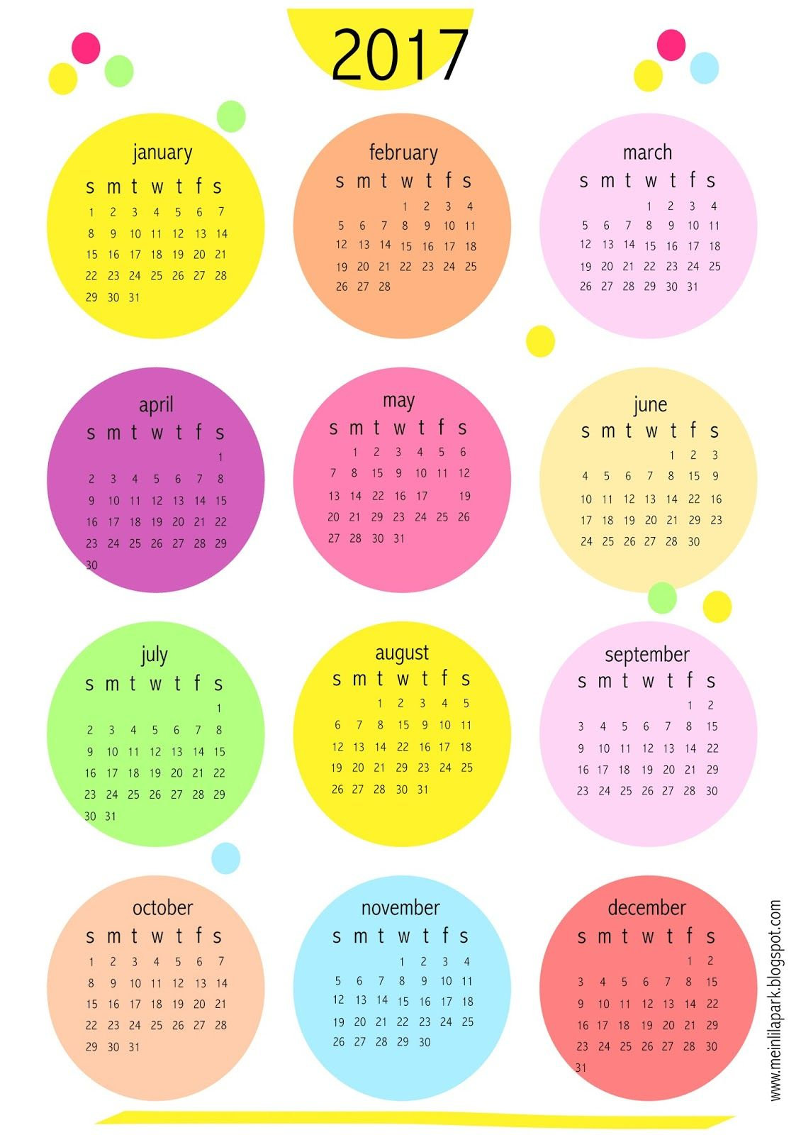 FREE printable 2017 bubbles calendar - freebie | MeinLilaPark ...
