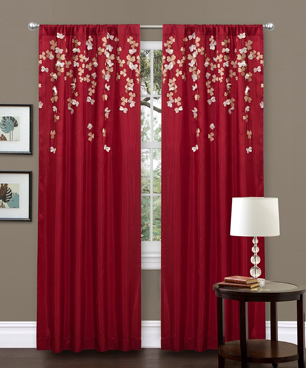 Lush Decor Red Faux Silk 84 Inch Flower Drop Curtain Panel