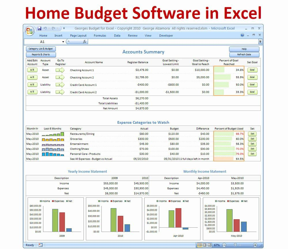 Monthly Budget Excel Template Inspirational Personal Bud Ing Software Excel Bud Spreadsheet Excel Budget Template Budget Spreadsheet Budget Software College student monthly budget example