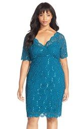 Marina Sequin Stretch Lace Cocktail Dress (Plus Size)
