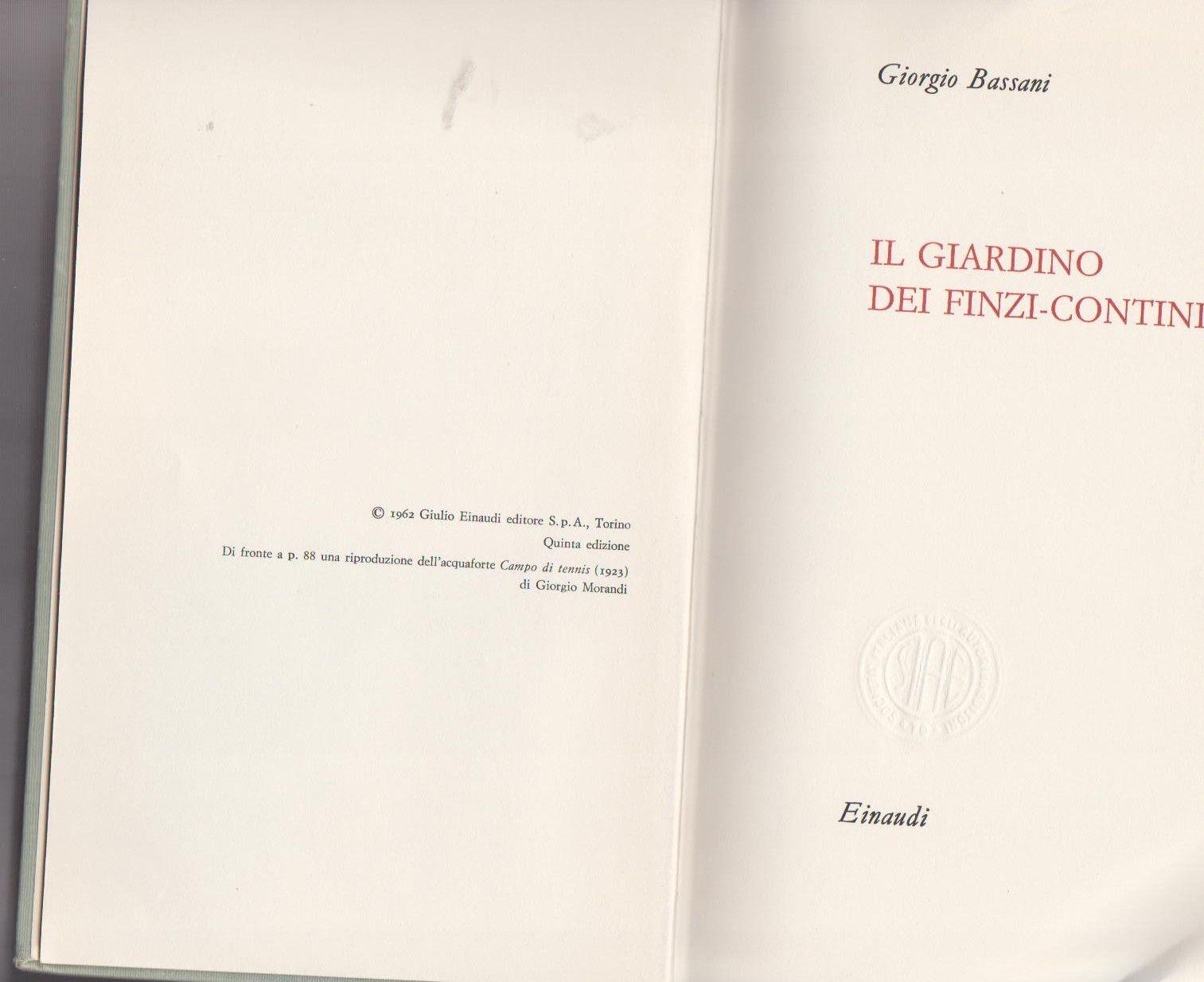 Il giardino dei finzi contini giorgio bassani 1962 books books cards against humanity e - Il giardino dei finzi contini libro ...