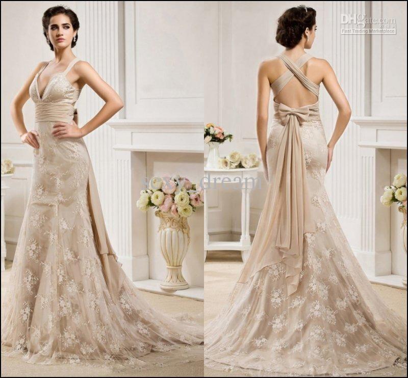 Best Selling Champagne Spaghetti Strap Lace Wedding Dresses Mermaid ...