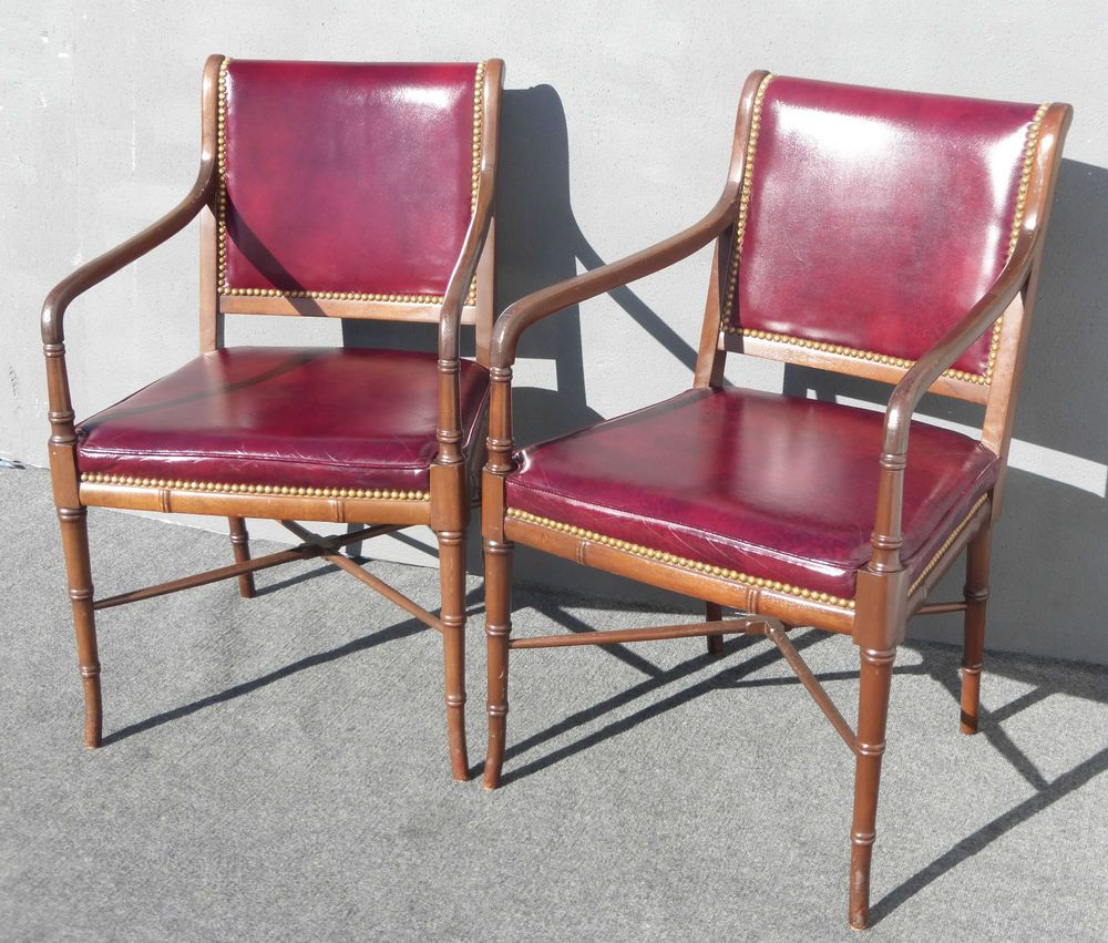 decorative nails for furniture. Pair Cabot Wrenn Luxury Red Burgundy Leather Accent ARM CHAIRS Decorative Nails #CabotWrenn #HollywoodRegency For Furniture S