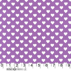 Michael Miller Fabric Hearts all over Purple Half yard,, yardage available