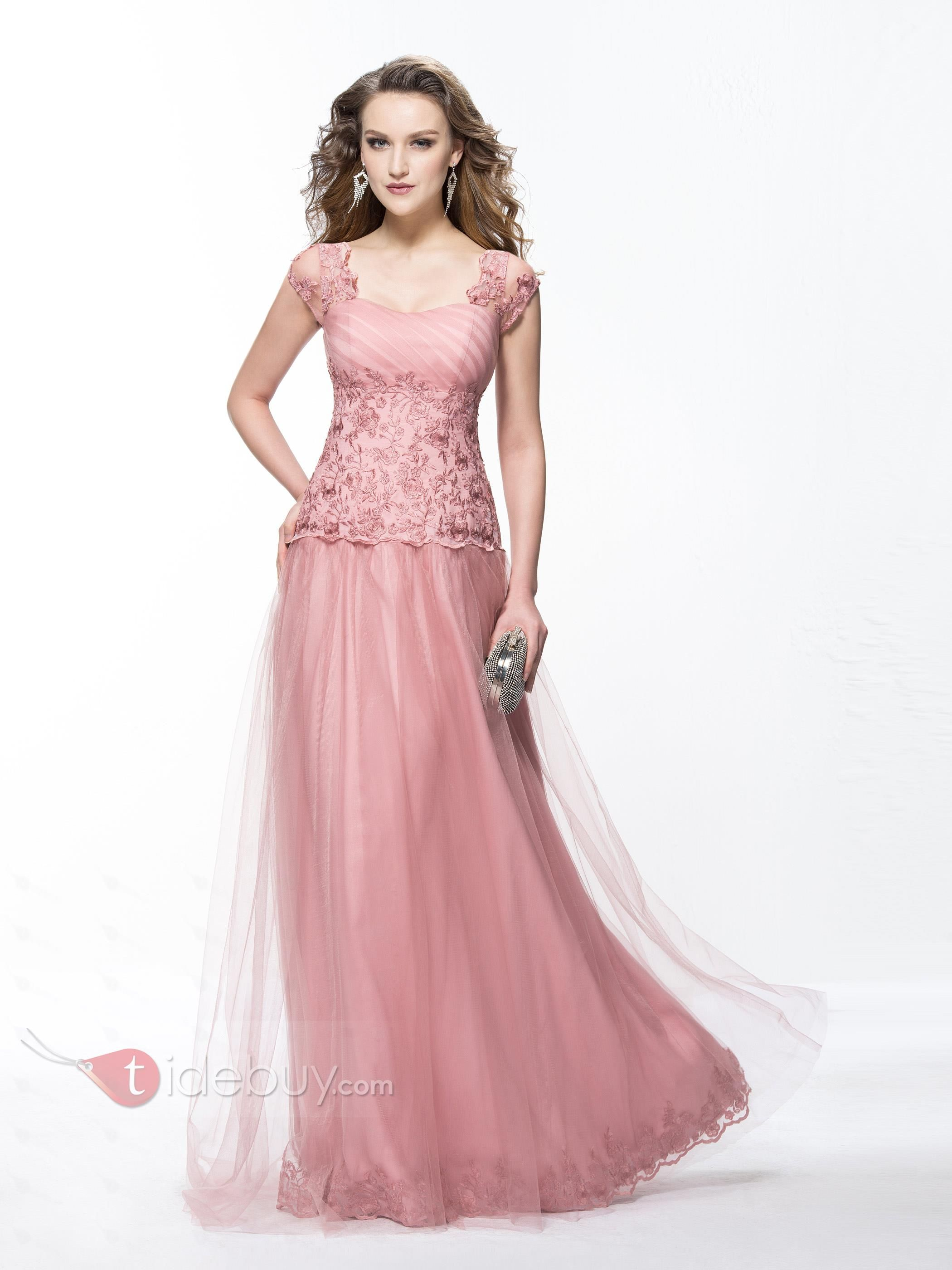 A-Line Appliques Sweetheart Cap Sleeves Long Evening Dress Designed ...