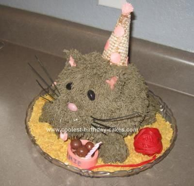 Homemade Cat Birthday Cake I Made This For My Sisters The Body From Wiltons Ball Pan