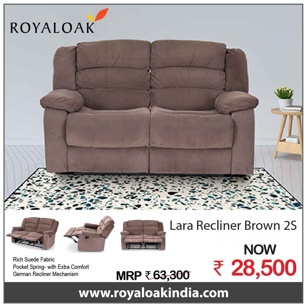 Royaloak Lara Two Seater Manual Recliner In Fabric Recliner Suede Fabric Seater
