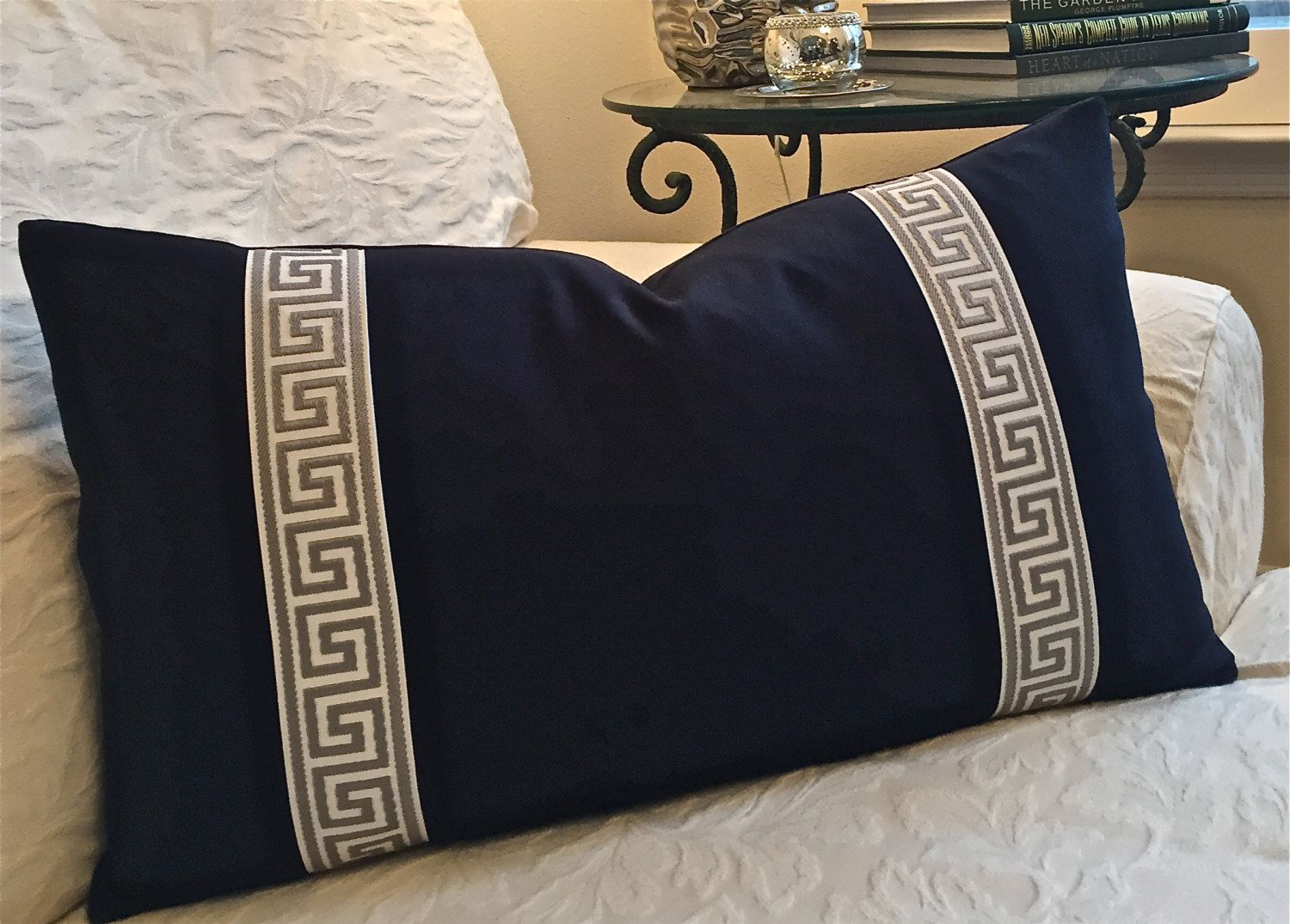 16X26 Pillow Insert Pleasing Navy Greek Key Pillows Gray Greek Key Trim Pillow Navy Lumbar Inspiration