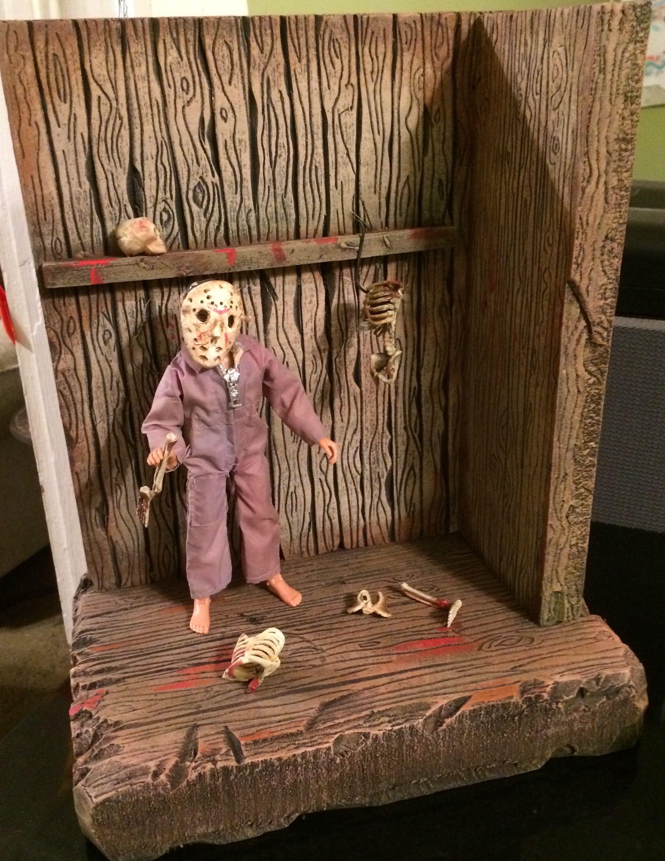 Custom action figure Diorama  Horror scene Jason Voorhees  Made of