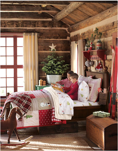 christmas in the bedroom, so cute! | PreTtY PresEnts and TreEs ... on cabin christmas lights, cabin cooking, cabin decorating living room, decor for christmas, cabin crafts, cabin tattoos, cabin hunting, cabin carpet, cabin decorating for thanksgiving,