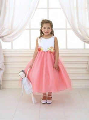BIMARO Mdchen Kleid Tamia Koralle Wei Blten Satin Tll
