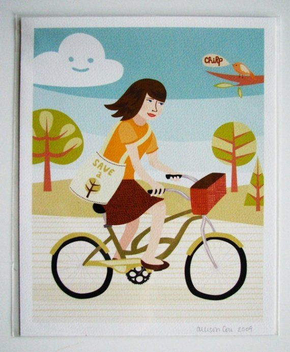 SALE Bicycle Girl Print  8x10 by bangbangyourethread on Etsy