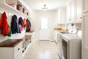 Traditional Laundry Room With Hardwood Floors Flush Light Paintable White Beadboard Glass Panel