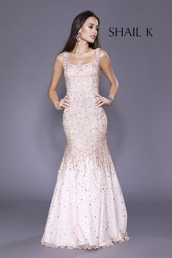 319785f515052 Thin Strap Low Back Mermaid Style Sequin Rose Prom Dress 12123 in ...