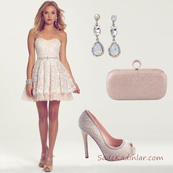 5c9c7546872bf Kadın Elbise Kombinleri Beyaz Kısa Straplez Kapl Yaka Dantel Abiye Elbise  İncili Topuklu Ayakkabı Pudra Çanta