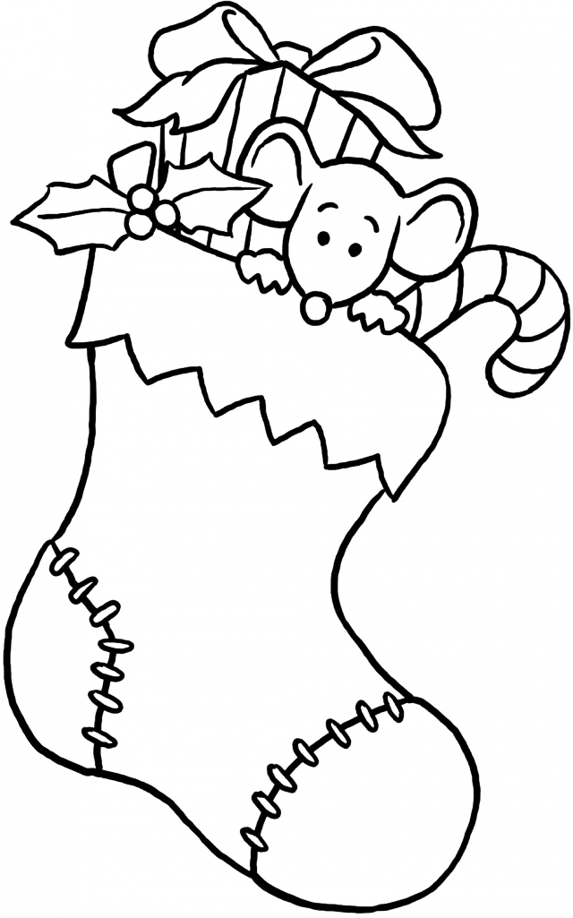 Christmas Christmas Stocking With Gifts Coloring Page Christmas