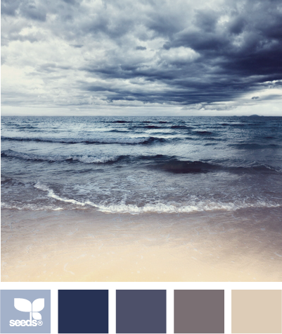 ocean tones - rich and cozy bedroom palette.