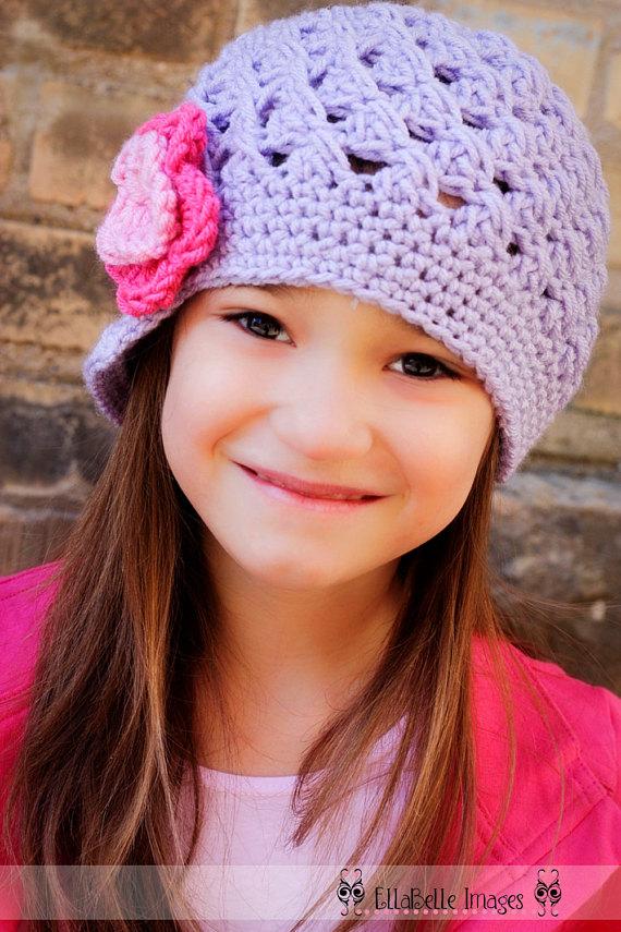 Rose Pink Visor Beanie Crochet Baby Hat with Flower