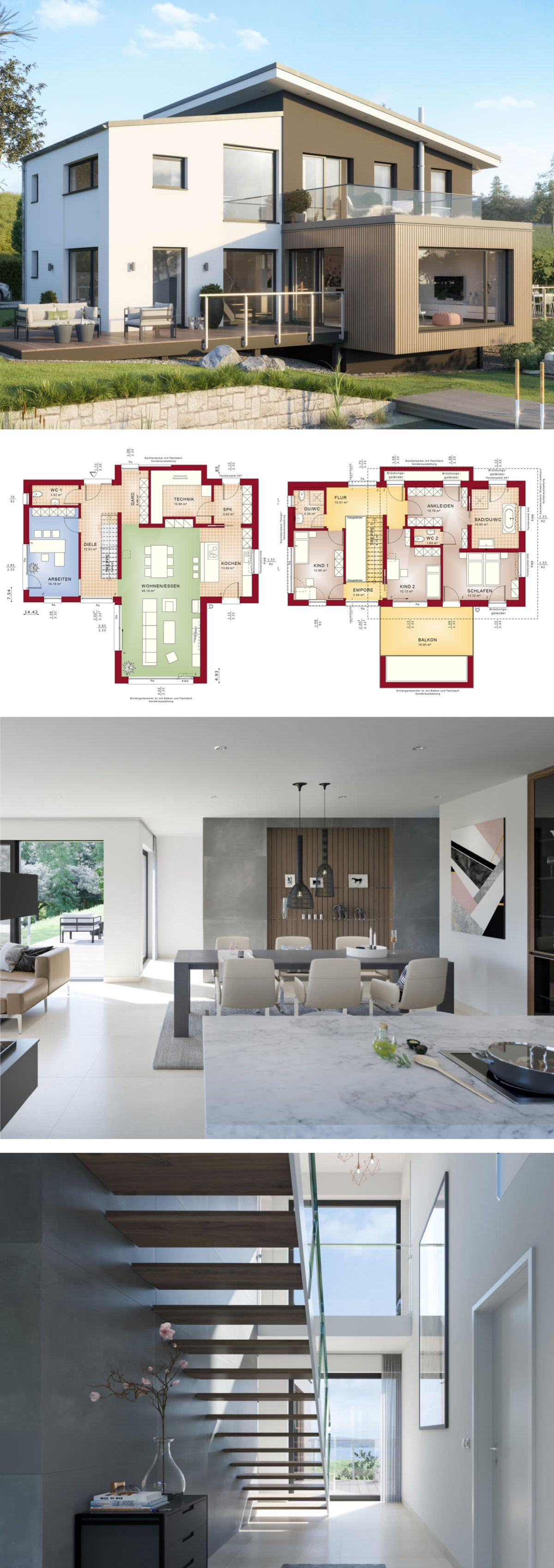 versetztes pultdach haus modern mit galerie b ro anbau einfamilienhaus bauen grundriss. Black Bedroom Furniture Sets. Home Design Ideas