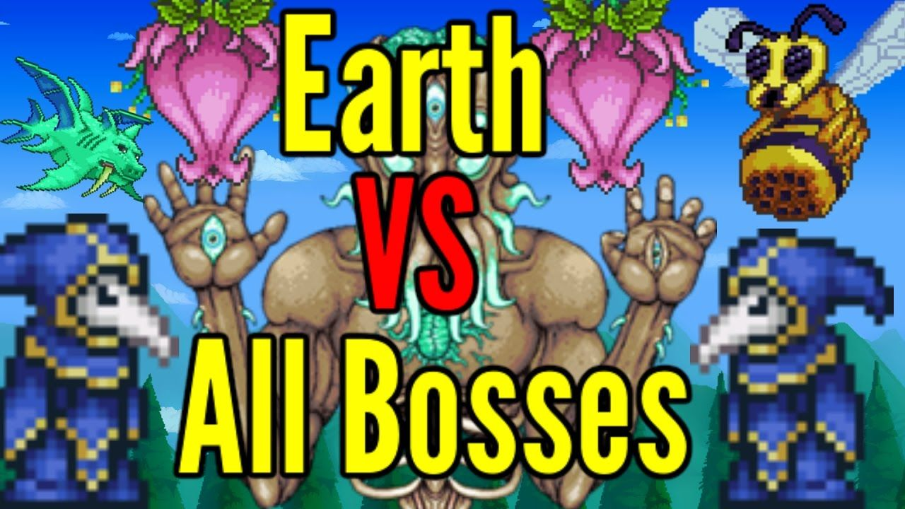 Terraria Earth Vs All Bosses Modded Bosses Included Terrarium Boss Earth