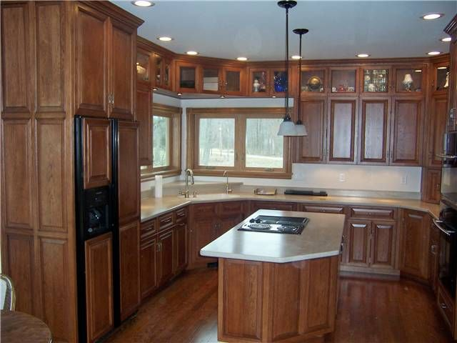 rustic beech cabinets with granite counter tops | Hickory ...