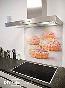 Crédence de cuisine en Verre Imprimé Design Cupcakes 60cm x 75cm (Colle inclus)