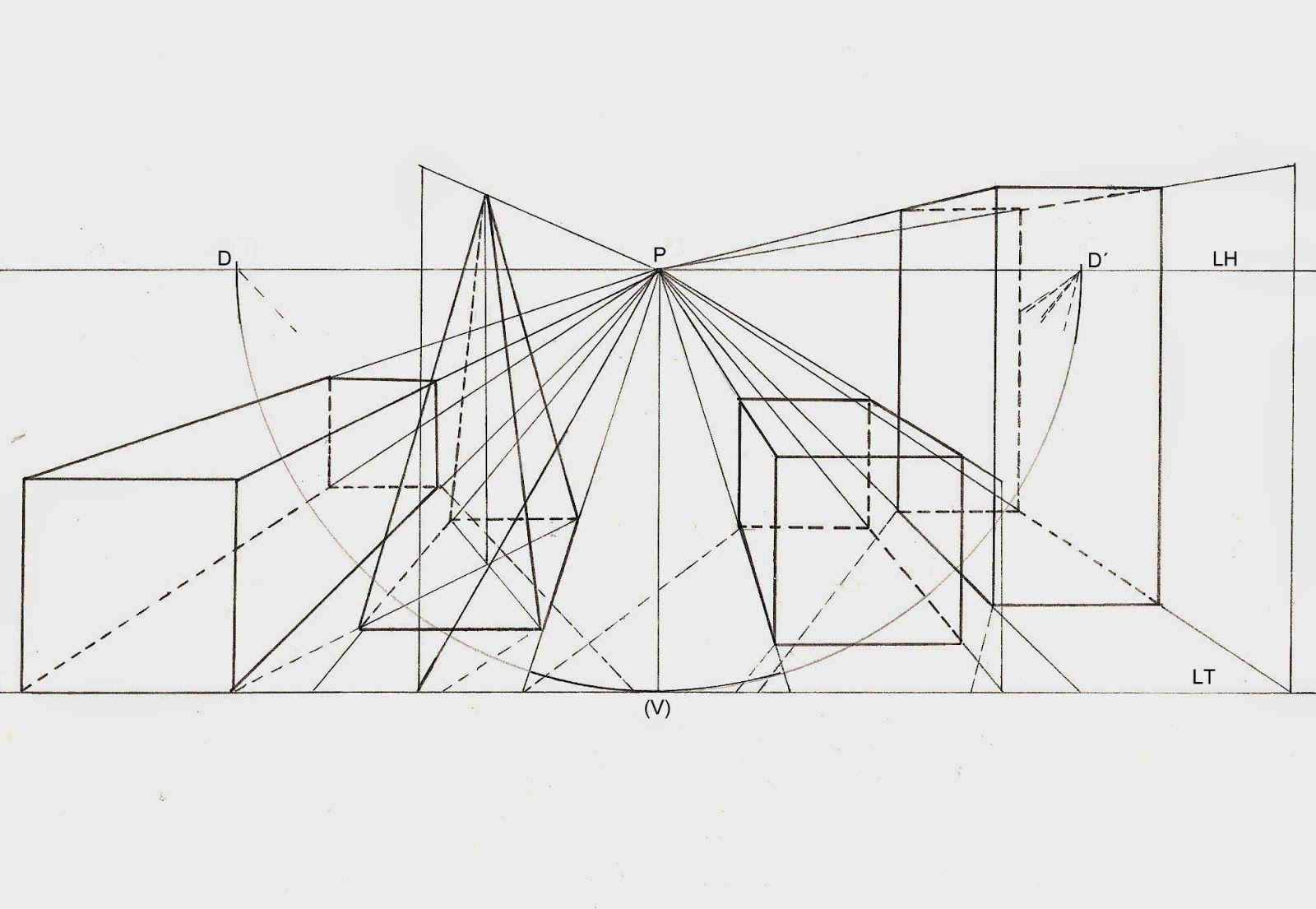Lamina Perspectiva Conica Central Cuerpos Geometricos Perspectiva Perspectiva Central Tecnicas De Dibujo
