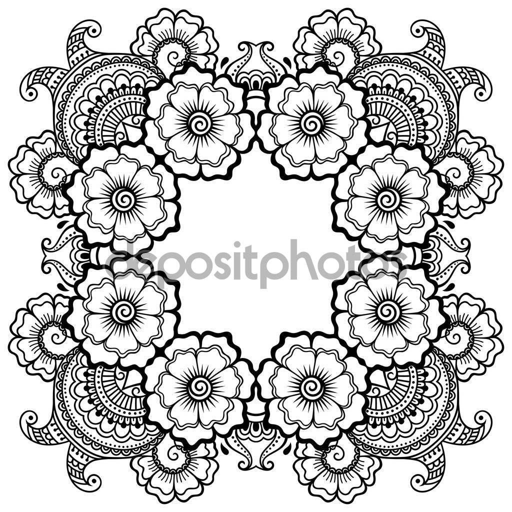 Descargar Mandala Del Tatuaje De Vector Henna Estilo De Mehndi Patron Decorativo En Estilo Oriental Pagina Coloring Books Coloring Pages Coloring Pictures