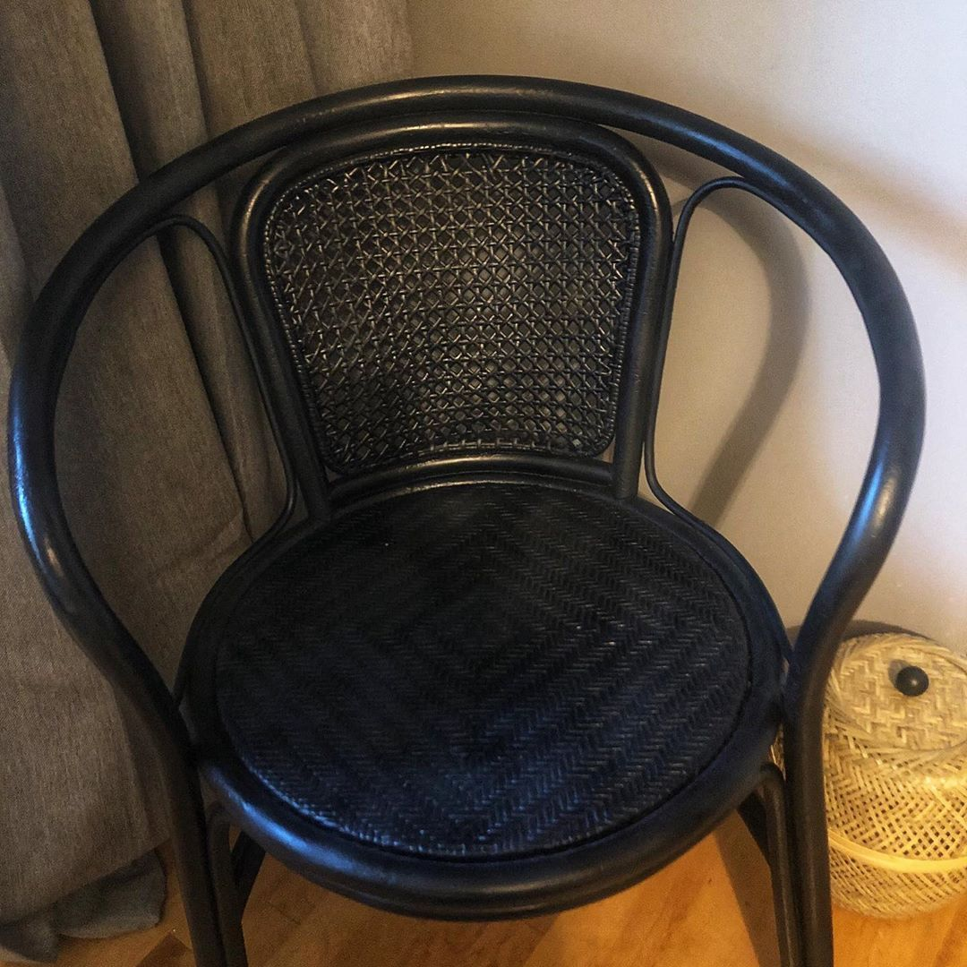When I found this cane chair on market place it had been painted gold and was chipping and peeling (swipe to see before.) I had dreams of sanding it back to the original wood but that was putting too much stress on the chair and it was beginning to crack so a fresh coat of gloss black and it's the perfect little chair for the corner of our master bedroom! 😀 #cane #diy #refinishedfurniture #glossblack #farmhousestyle #changeofplans #beforeandafter
