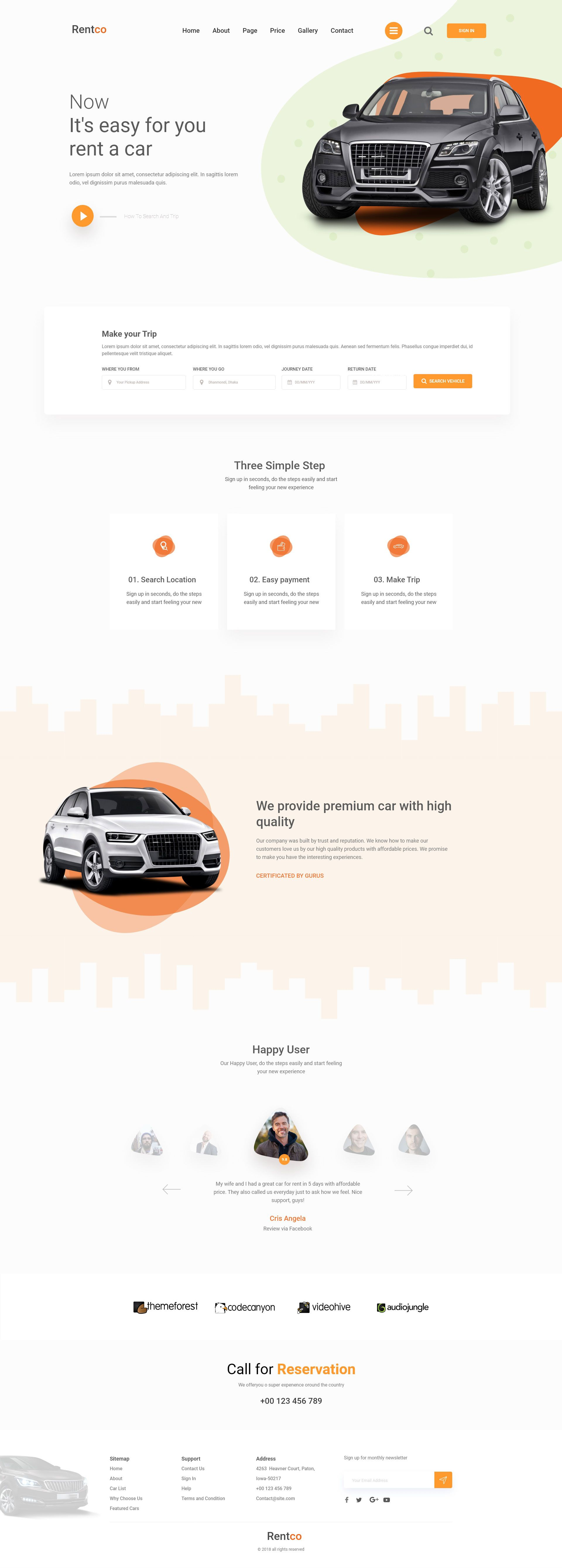 Rentco - Car Rental Landing Page