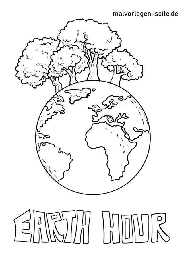 Malvorlage Earth Hour Umweltschutz Kostenlose Ausmalbilder Malvorlagen Vorlagen Ausmalen