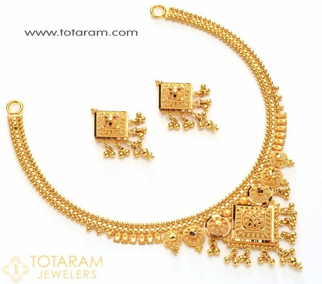 22 Karat Gold Necklace Drop Earrings Set Contains Necklace Drop