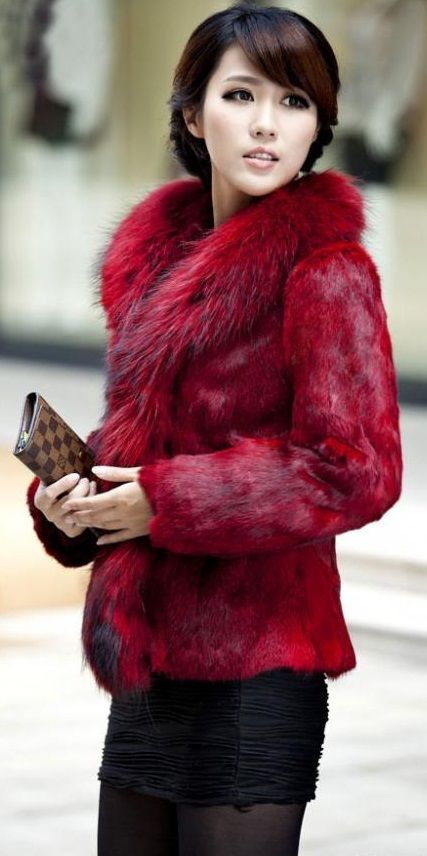 red fur coat | Red Rabbit Fur Coat/Jacket with Raccoon Fur Collar ...